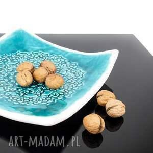 oryginalne ceramika patera koronkowa turkus i biel