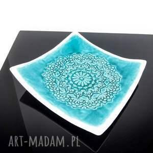 turkusowe ceramika patera koronkowa turkus i biel