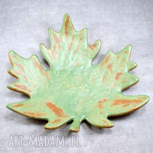 zielone ceramika patera liść klonu