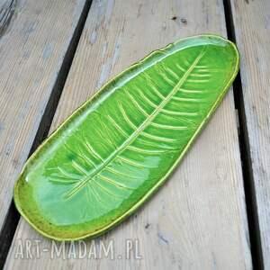 handmade ceramika patera talerz liść
