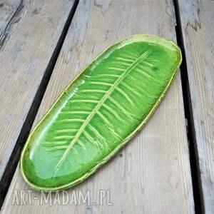 brązowe ceramika talerz patera liść