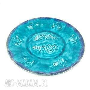 ceramika: Patera XL - turkusowe esyfloresy