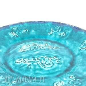 artlantyda ceramika patera xl - turkusowe esyfloresy