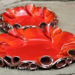 patera ceramika czerwone patery twist czerwono -złote
