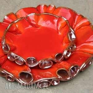 szkliwione ceramika patery twist czerwono -złote