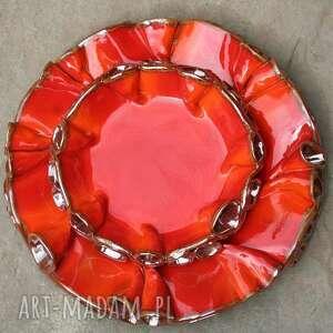 ceramika szkliwione patery twist czerwono -złote