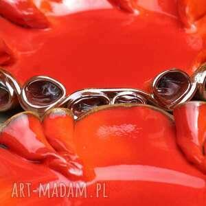pomarańczowe ceramika patery twist czerwono -złote