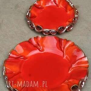 hand made ceramika patera patery twist czerwono -złote