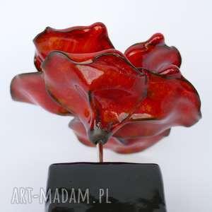 AgnesArtStudio ceramika: Ceramiczna Róża Czerwona, Szkliwiona