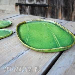 ręcznie zrobione ceramika prezent zestaw ceramicznych pater z liściem