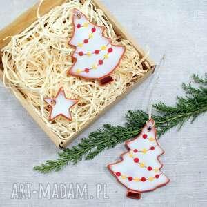 pomysły na prezenty pod choinkę choinka zestaw 2 ceramicznych choinek - zawieszek
