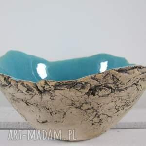na owoce ceramika turkusowe mniejsza wersja dekoracyjnej miski artystycznej