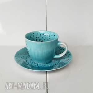 niebieskie ceramika prezent serwis obiadowy jednoosobowy