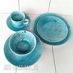 hand-made ceramika malowana-ceramika serwis obiadowy jednoosobowy