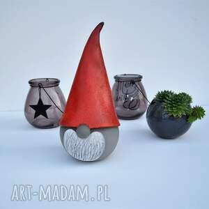 upominki święta mikołaj świąteczny skrzat ceramiczny - gnom