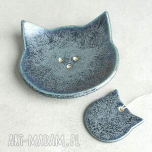 ceramika mydelniczka szary kot -