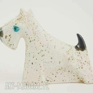 białe ceramika sznaucer - pies na biżuterię