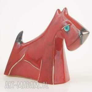 czerwone ceramika sznaucer - pies na