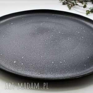 czarne ceramika talerz antracytowy nakrapiany