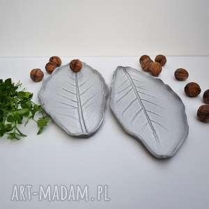 czarne ceramika talerz ceramiczny liść - zestaw