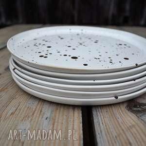 Ceramika Tyka : Talerz ceramiczny obiadowy - Zestaw 6 szt - nakrapiane