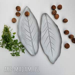 patera ceramika talerz ceramiczny liść - zestaw