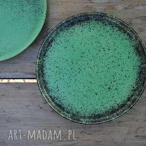 ceramika zielone talerze ceramiczne matowe - zestaw