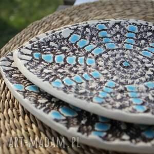 wyraziste ceramika talerze rybki, zestaw 2 sztuk, etno