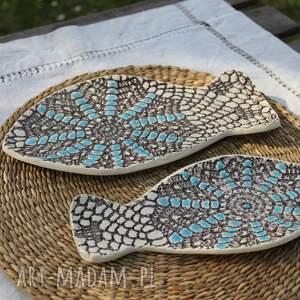 Talerze rybki, zestaw 2 sztuk, etno - Ręczne wykonanie ceramika