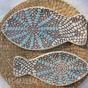 ceramika talerze rybki, zestaw 2 sztuk, etno