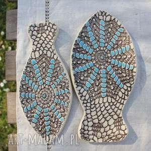 talerze ceramika niebieskie rybki, zestaw 2 sztuk, etno