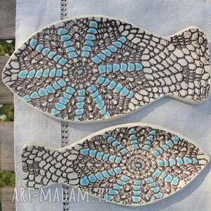 Enio Art Talerze rybki, zestaw 2 sztuk, etno - Ręczne wykonanie prezent