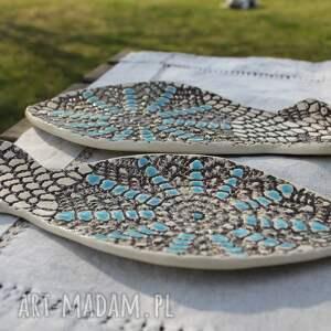 brązowe ceramika ryba talerze rybki, zestaw 2 sztuk, etno
