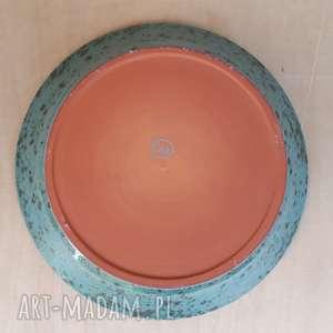 czarne ceramika talerzyk deserowy turkusowy