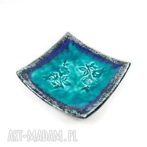 gustowne ceramika listki talerzyki ceramiczne turkusowe