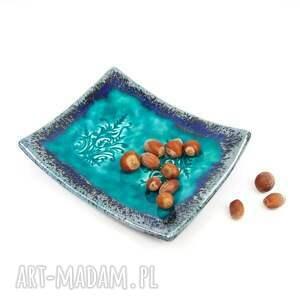 niebieskie ceramika talerzyki ceramiczne turkusowe