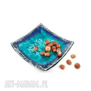 ceramika listki talerzyki ceramiczne turkusowe