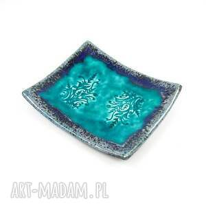 gustowne ceramika talerzyki ceramiczne turkusowe