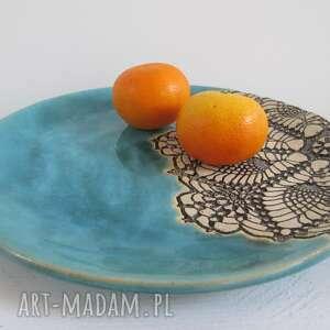 handmade ceramika turkusowy talerz turkusowa dekoracyjna patera