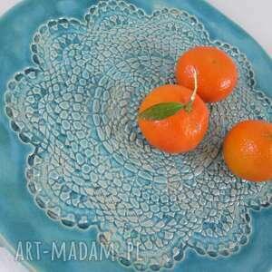 turkusowe ceramika talerz ceramiczny turkusowa koronkowa patera