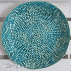 ceramika ceramiczny turkusowa koronkowa patera