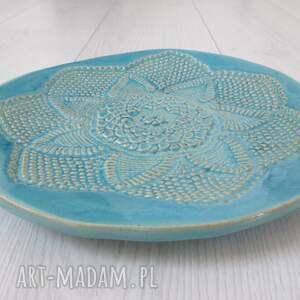 turkusowe ceramika turkusowa koronkowa patera