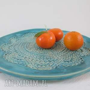 ceramika talerz ceramiczny turkusowa koronkowa patera