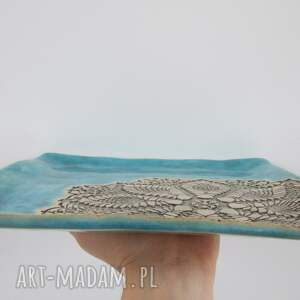 Ceramika Ana turkusowa kwadratowa patera z koronką - prezent parapetówka parapetowka