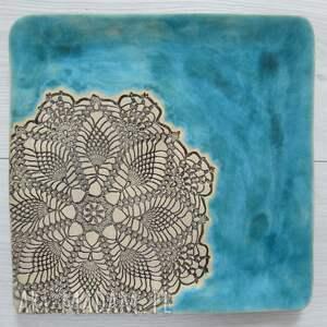 wyjątkowe turkusowy talerz turkusowa kwadratowa patera