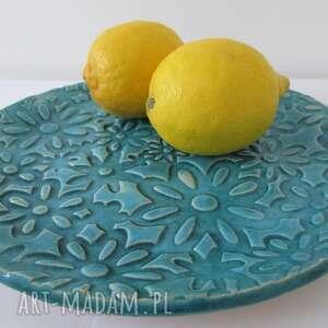 turkusowe ceramika turkusowa kwiecista patera