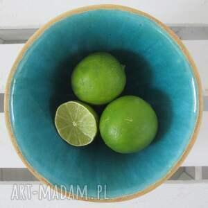 beżowe ceramika turkusowa miska miseczka ceramiczna