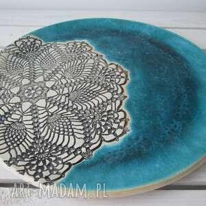 ręcznie zrobione ceramika ceramiczna turkusowa patera z koronką