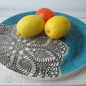 czarne ceramika talerz turkusowa patera z koronką