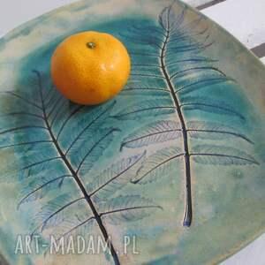 turkusowe ceramika talerz ceramiczny turkusowy roślinny